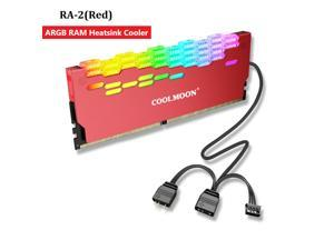 COOLMOON ARGB RAM Heatsink Cooler RGB Memory Cooling Heat Sink 5V 3 Pin 4 Pin Aluminum Alloy RA-2 Colorful Flashing Heat Spreader for Desktop PC Computer Accessories (Red)