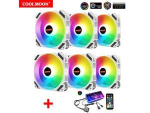 6 Pack RGB Case Fans, COOLMOON 120mm Computer Cooling PC Case Fan Addressable RGB Color Changing LED Fan with Remote Control, Music Rhythm Sync & 5V ARGB Motherboard Sync