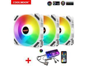 3 Pack RGB Case Fans, COOLMOON 120mm Computer Cooling PC Case Fan Addressable RGB Color Changing LED Fan with Remote Control, Music Rhythm Sync & 5V ARGB Motherboard Sync