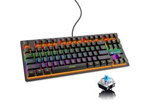 AUTENS Mechanical Gaming Keyboard Blue Switch 87 Keys USB Wired Rainbow LED Backlit Keyboard For PC Laptop Computer