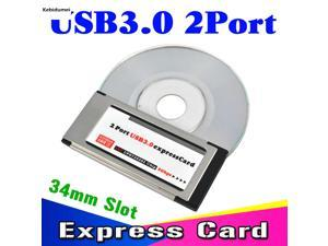 Kebidumei PCI Express to USB 3.0 PCI-E Card Adapter 5 Gbps PCMCIA Dual 2 Ports for NEC Chipset 34 MM Slot ExpressCard Converter