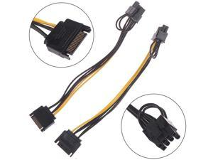 1pc 15pin SATA Male To 8pin(6+2) PCI-E Power Supply 20cm 15-pin 8 Pin Cable Wire For Graphic Card