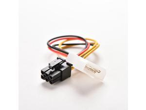 4 Pin Molex IDE To 6 Pin PCI-E Graphic Card Power Supply Cable Adapter PC Video Card Connector Cable Converter Cord 17cm
