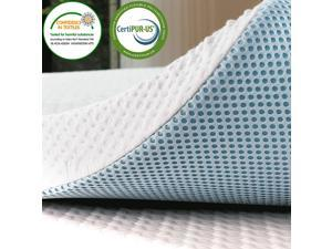Subrtex Gel-Infused Memory Foam Bed Mattress Topper High Density Cooling Pad Removable Fitted Bamboo Cover Ventilated Design-10 Years Warranty