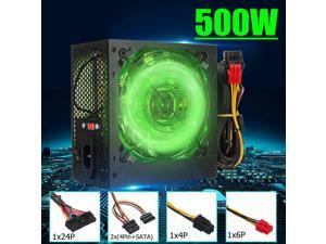 Max 500W Power Supply 120mm LED Fan 24 Pin PCI SATA ATX 12V PC Computer Power Supply for Desktop