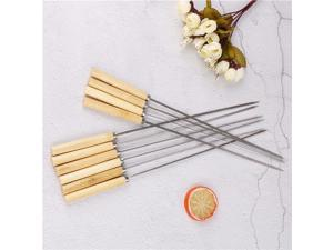 10Pcs/lot 35cm Stainless Steel Flattened Rounded Sign Optional Meat BBQ Skewers Hot Handle With Handle Barbecue Needle Wood