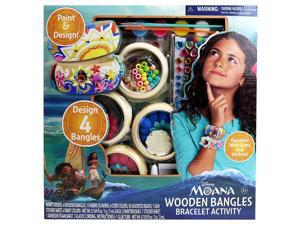 Disney Moana - WOODEN BANGLES BRACELET ACTIVITY - Design Your Very Own Wooden Bangles with Colorful Paint Included in the Set. Decorate with Cording, Beads, Fabric Flowers & Sparkly Gem Stickers!