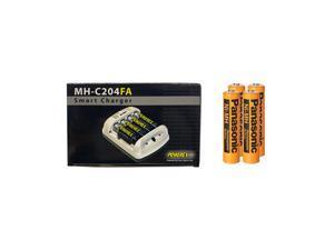 Powerex MH-C204FA AA / AAA Smart Charger & 4 x AAA Panasonic 750 mAh NiMH Batteries (Low Discharge)