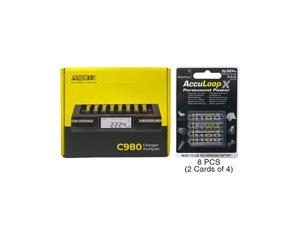 Powerex C980 Smart Charger & 8 AAA AccuPower AccuLoop-X NiMH Batteries (1100 mAh)