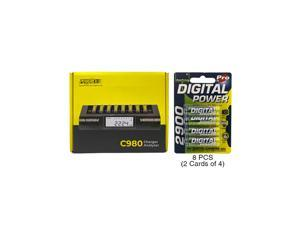 Powerex C980 Smart Charger & 8 AA NiMH AccuPower Rechargeable Batteries (2900 mAh)
