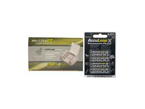 Powerex MH-C204GT AA / AAA Smart Battery Charger & 4 AA NiMH AccuPower AccuLoop-X Rechargeable Batteries (2600 mAh)