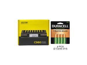 Powerex C980 Smart Charger & 8 AA Duracell Rechargeable (DX1500) Batteries (2500 mAh)