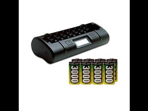 8 Bay LCD Maha Powerex Battery Charger + 8 C AccuPower NiMH Batteries (3000 mAh)