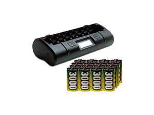 8 Bay LCD Maha Powerex Battery Charger + 16 C AccuPower NiMH Batteries (3000 mAh)