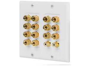 Surround Sound Wall Plate 2-Gang 7.1 w/ Gold Plated 7-Pair Copper Binding Posts