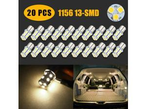 20x Warm White LED 1156 13-SMD RV Camper Trailer Interior Light Bulbs 1141 12V