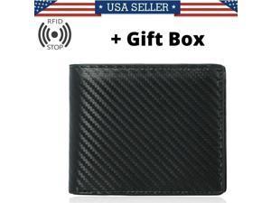 RFID Blocking Men's Carbon Fiber Leather Bifold Credit Card ID Holder Wallet US