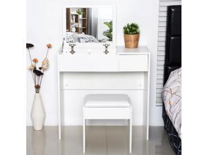 Mirrored Vanity Flip Top Set Dresser Table Stool Set  Bedroom White