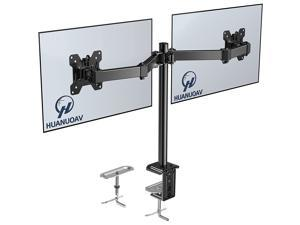 Dual Monitor Stand - HUANUO AV Double Articulating Monitor Arm Desk Mount - Adjustable VESA Bracket with C Clamp, Grommet Mounting Base for Two 13-27 Inch LCD Computer Screens - Holds up to 17.6lbs…