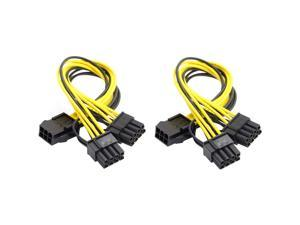 Traodin PCI Express Power Cable,6 Pin to Dual PCIe 8 Pin (6+2) Graphics Card PCI Express Power Adapter GPU VGA Y-Splitter Extension Cable Mining Video Card Power Cable 9 inches 2 Pack…