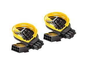 Qaoquda PCI Express Power Cable,8 Pin to Dual PCIe 8 Pin (6+2) Graphics Card PCI Express Power Adapter GPU VGA Y-Splitter Extension Cable Mining Video Card Power Cable (12 inches 2 Pack)…