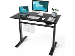 Fenge Electric Standing Desk 43x24 Inch Full Adjustable Sit Stand Desk with 4 Programmable Memory Presets, Ergonomic Computer Desk, Black EDS48102WE…