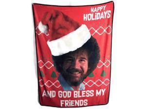 Bob Ross Happy Holidays and God Bless My Friends Fleece Throw Blanket
