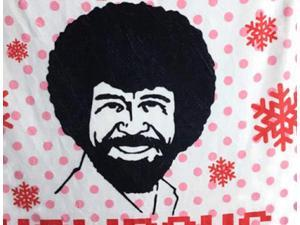 Bob Ross Happy Little Holidays Fleece Throw Blanket