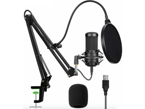 Aokeo Professional USB Streaming Podcast PC Condenser Microphone With Stand+Pop