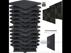 "24 Pack Acoustic Foam Soundproof Panels Studio Wedge Tiles Charcoal 1""x 12""x 12"""