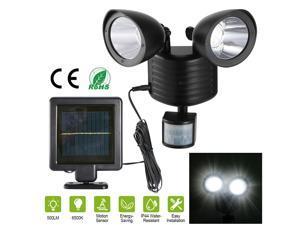 Solar Power Motion Sensor Light Dual Head 22 LED Security Floodlight Outdoor