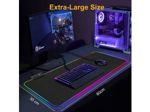 30*80*0.4 cm RGB Gaming Mouse Pad Led Computer Mousepad Mat with Backlight Carpet For keyboard Desk Mat Mause Full Black