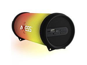 AXESS SPBL1043BK AXESS SPBL1044 Vibrant Plus Black HIFI Bluetooth Speaker with Disco LED Lights In Black