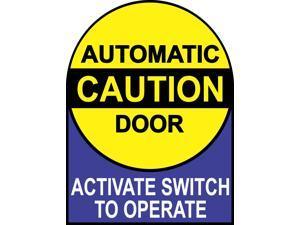 StickerTalk Caution Automatic Door Vinyl Sticker, 6 inches by 8 inches