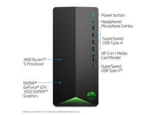 HP Pavilion Gaming Desktop, AMD Ryzen 5 3500 (3.6 - 4.1GHz), 8GB RAM, 256 GB NVMe SSD , NVIDIA GeForce GTX 1650 Super, HDMI, DisplayPort,  Wi-Fi, Bluetooth, Windows 10 Home