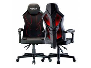 UOMAX Gaming Chair, Reclining Racing Chair with LED Lights, Ergonomic Computer Chair with Lumbar Support, Adjustable PC Gamer Chair with Mesh Back(Black red)