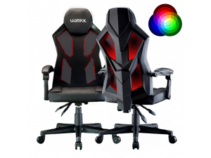 UOMAX Gaming Chair, Reclining Racing Chair with LED Lights, Ergonomic Computer Chair with Lumbar Support, Adjustable PC Gamer Chair with Mesh Back (RGB)