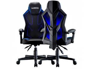 UOMAX Gaming Chairs, Ergonomic Computer Chair for Gamer, Reclining Racing Chair with LED Lights, Armrests and Lumbar Cushion(Blue)
