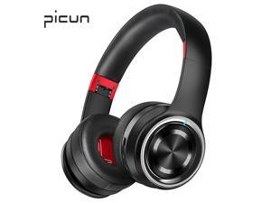 Picun P26 Bluetooth Headphones Over Ear Headset 40H Playtime Hi-Fi Stereo Wireless Headphones with Deep Bass Foldable Wired/Wireless/TF for Phone/TV Bluetooth 5.0 Wireless Earphones with Mic(BlackRed)
