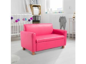 """33"""" Kids Sofa Child PU Upholstered Couch Storage Compartment Pink"""