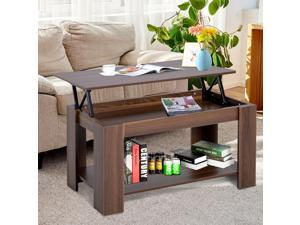 Modern Lift Top Coffee Table End Console Table Hidden Storage Compartment Living
