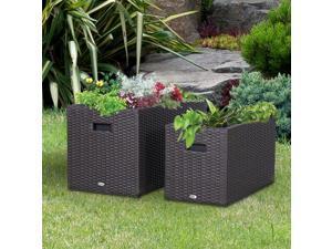 2 PCS Square Plastic Rattan Metal Flower Pot Indoor Outdoor Plants Box Seed