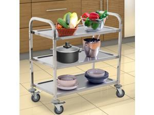 """33"""" 3-Tier Stainless Steel Kitchen Cart Rolling Island Serving Trolley"""