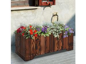 """37.5""""x15""""x15.75"""" Wooden Raised Rectangular Garden Bed Planter"""