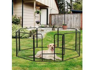 "8 Panel 32"" Heavy Duty Powder Coated Metal Dog Pet Playpen Exercise Fence"