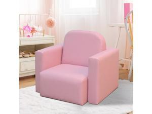 2-in-1 Multifunctional Kids Table  Sofa Set Armchair for Boys Girls Pink