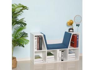 6-Cubby Kids Bookcase Multi-Purpose Storage Organizer Cabinet White Blue