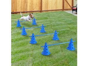 Dog Agility Equipment Agility Training Gear 8 Cones 4 Rods Starter Kit Blue