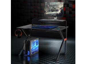 Gaming Desk Computer Table  for Gamer W/ Cup Holder, Headphone Hook and Surge