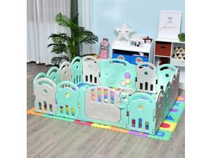 CYBER MONDAY SALE  16 Pcs Safety Children Playpen Green Game Panel